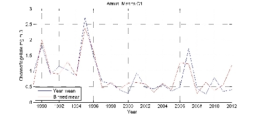 Choanoflagellate mg m-3 annual means by year plot; station C1