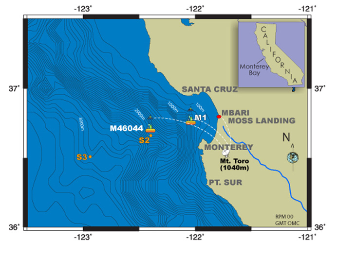 map of Monterey Bay with mooring locations